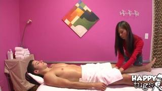 Aron Matthews really enjoys the massage performed by Kim Kong