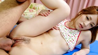 Raunchy Yuu loves riding on that dick as her tight pussy is split open